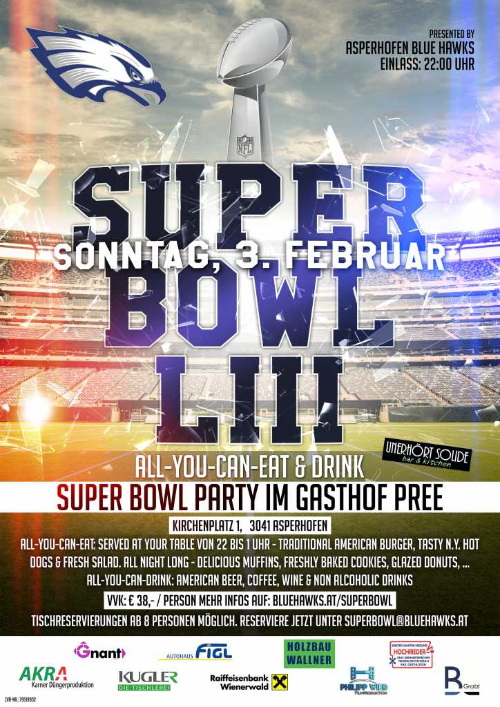 Blue Hawks Flyer Super Bowl Party2019
