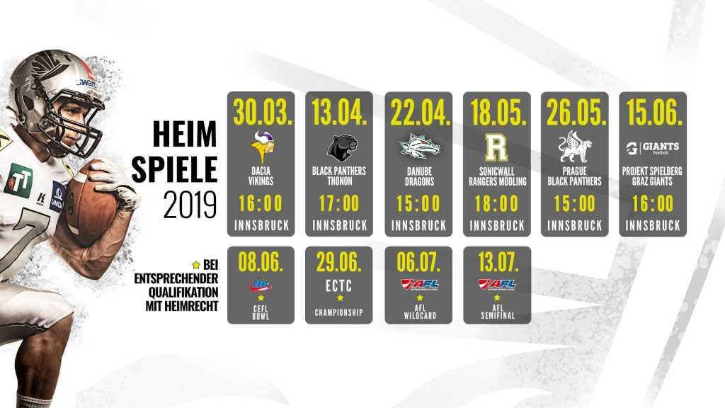 Swarco Raiders Tirol Spielplan 2019