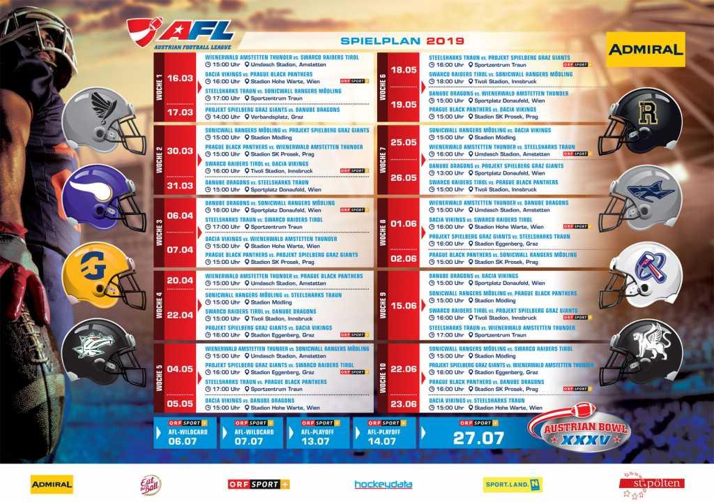 AFL Spielplan 2019