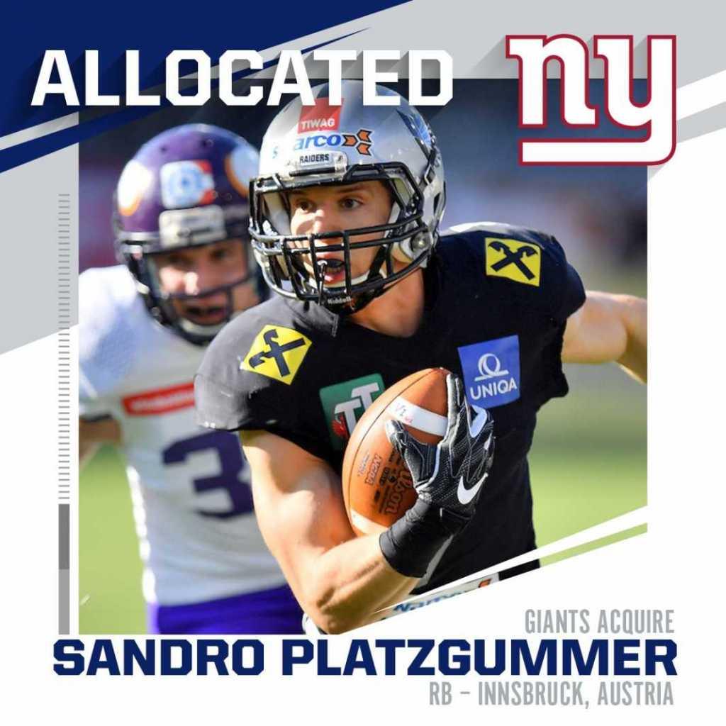 Sandro Platzgummer New York Giants