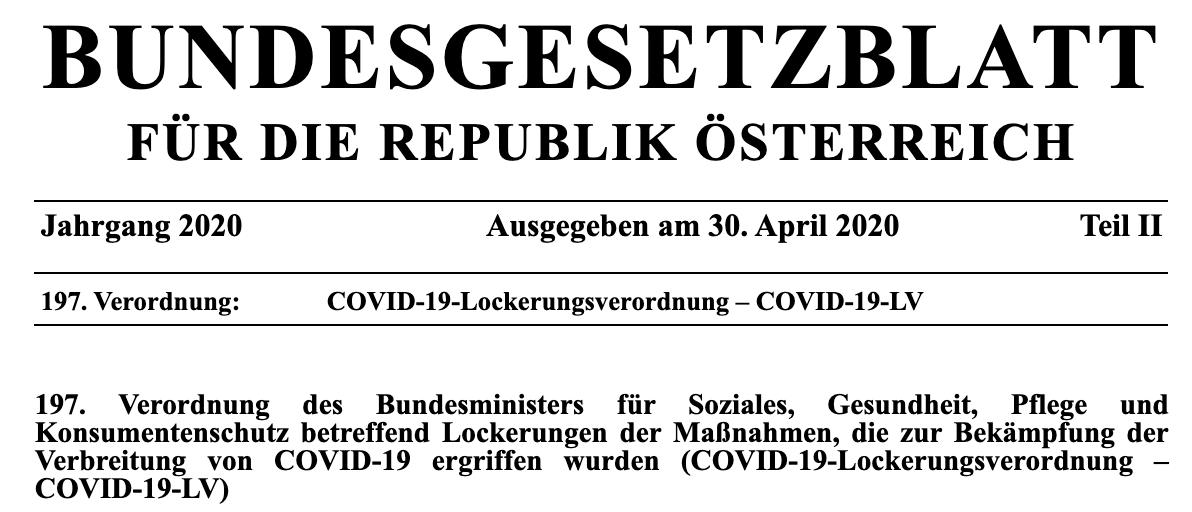 Verordnung 30 April